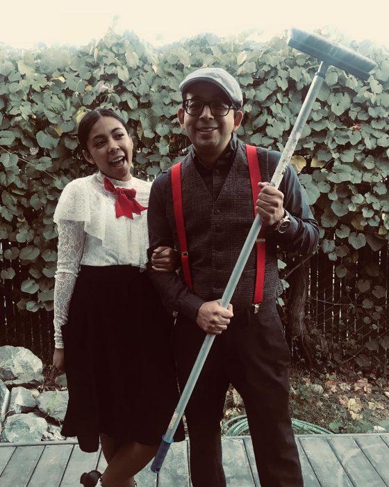 padre e hija disfrazados de mary poppins