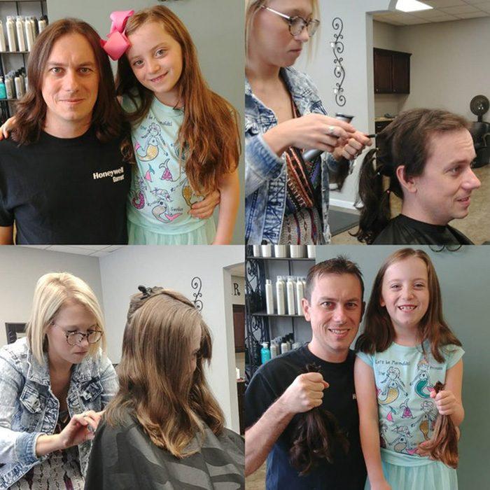 Padre e hija se dejaron crecer el cabello 2 años para donarlo