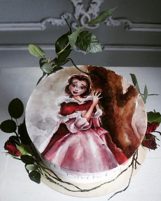 pastel de a bella y la bestia
