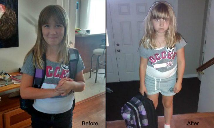 antes y después primer día de escuela