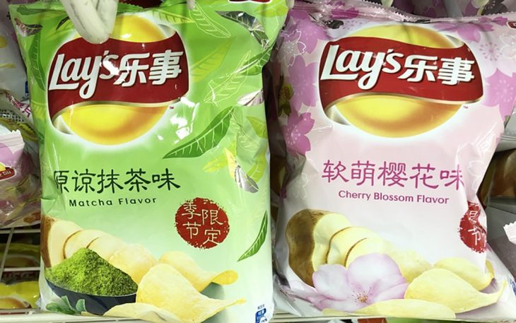 Frituras sabor matcha y flor de cerezo en Japón