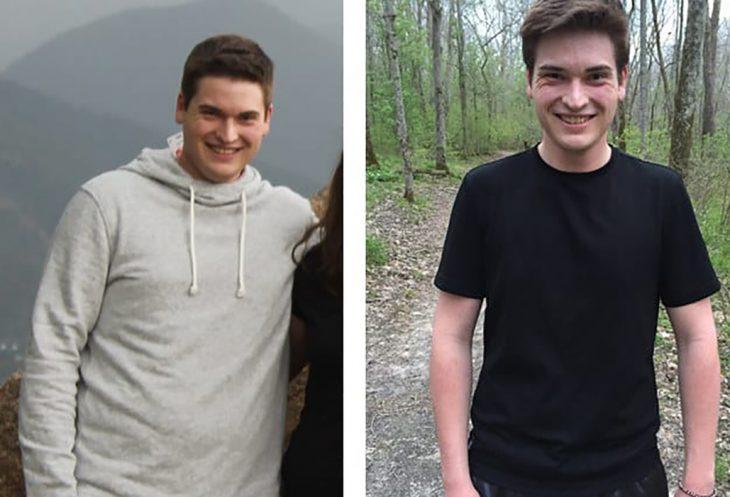 chico antes y después de perder peso