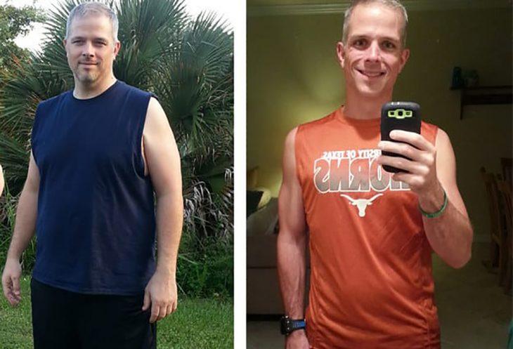 hombre con canas antes y después de bajar de peso