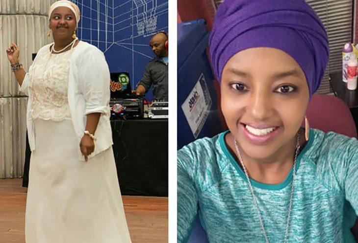 mujer vestida como africana antes y después de perder peso