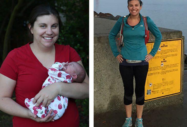 mujer con bebé gorda y después delgada