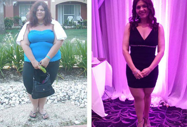 chica hindú antes y después de perder peso