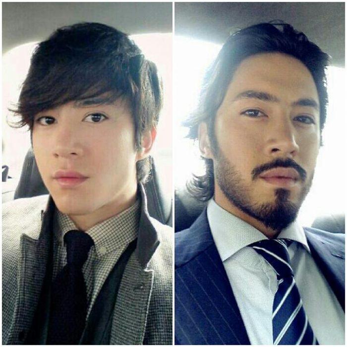 coreano con y sin barba