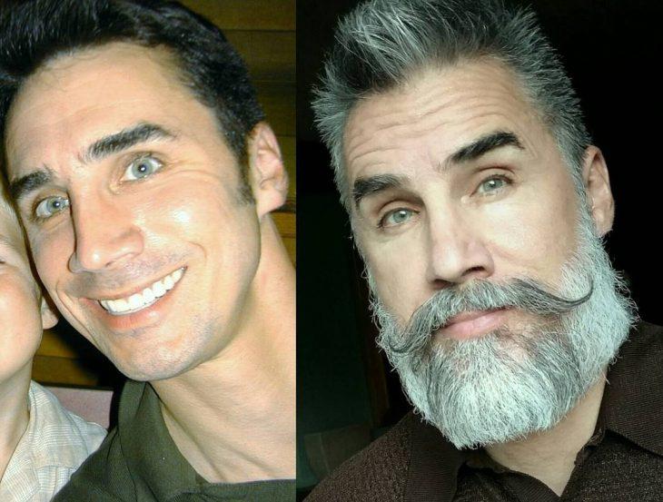 transformación hombre con canas y barba