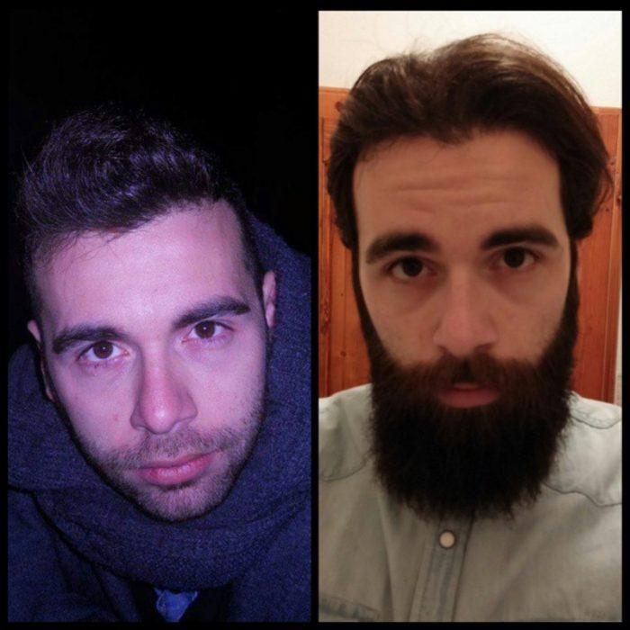 hombre con y sin barba