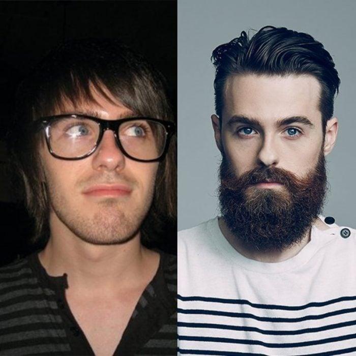 hombre de barba con ojos azules
