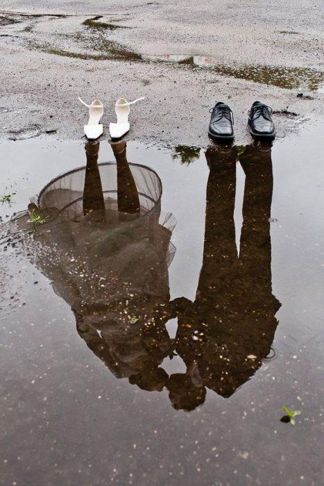 foto de boda con reflejos