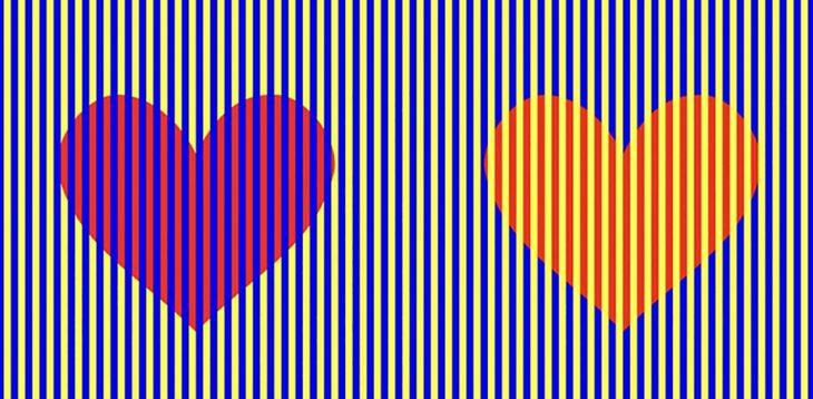 ilusión óptica corazones