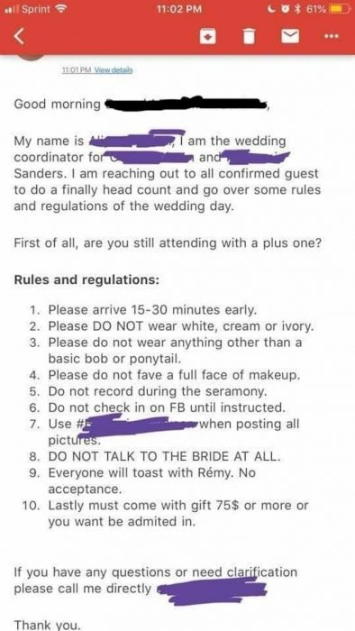 lista de requisitos para boda