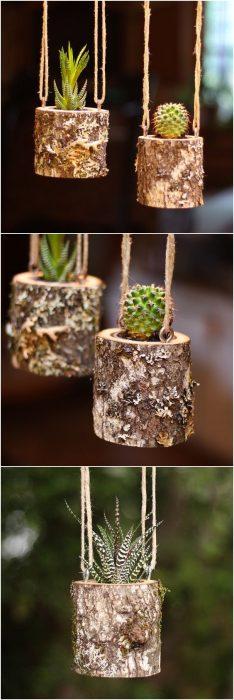 macetas colgadas en tronquitos