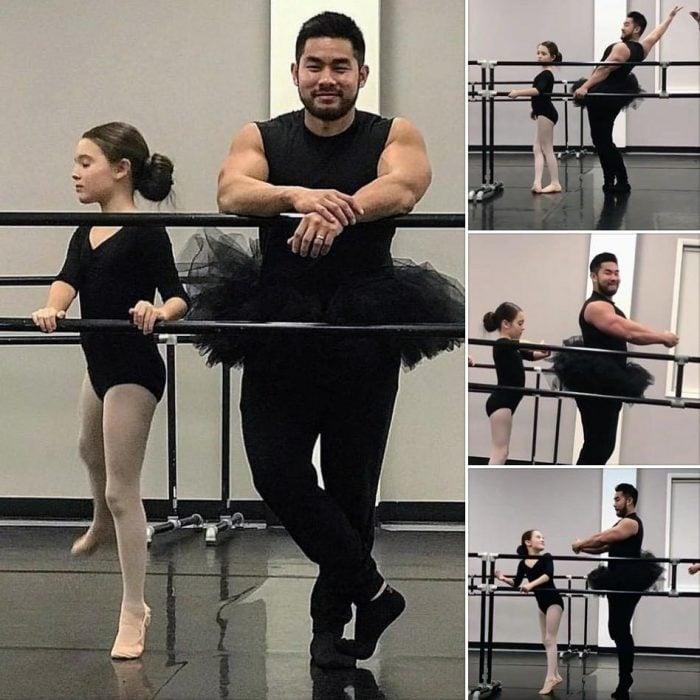 papá que toma clases de ballet con su hija