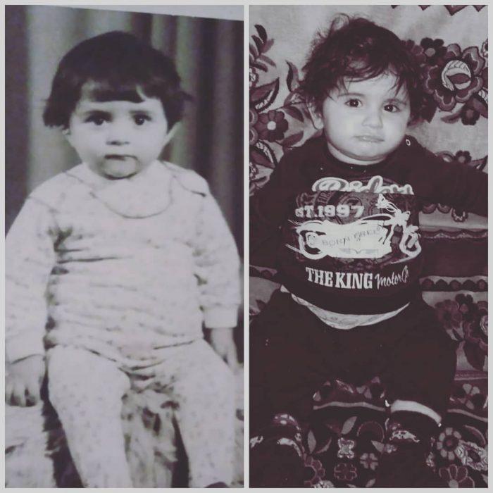dos bebés en la misma pose