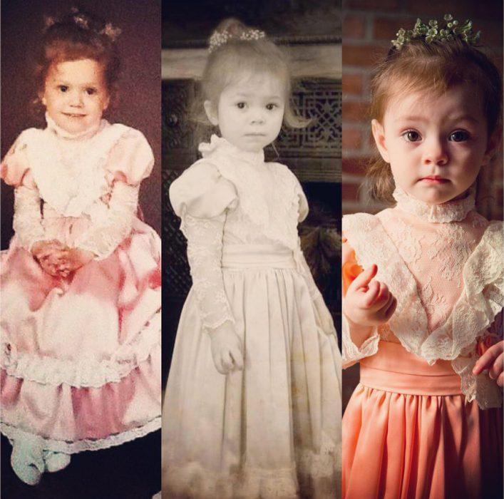 Mismo vestido, 3 generaciones de niñas