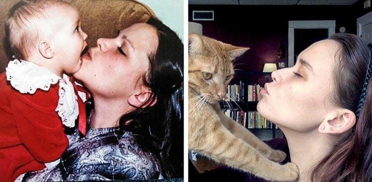 mujer besando a bebpe y mujer besando a gato