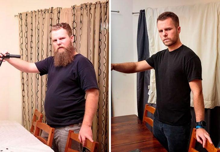 hombre de negro antes y después del alcohol