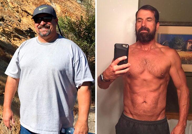 hombre antes y después de dejar de tomar