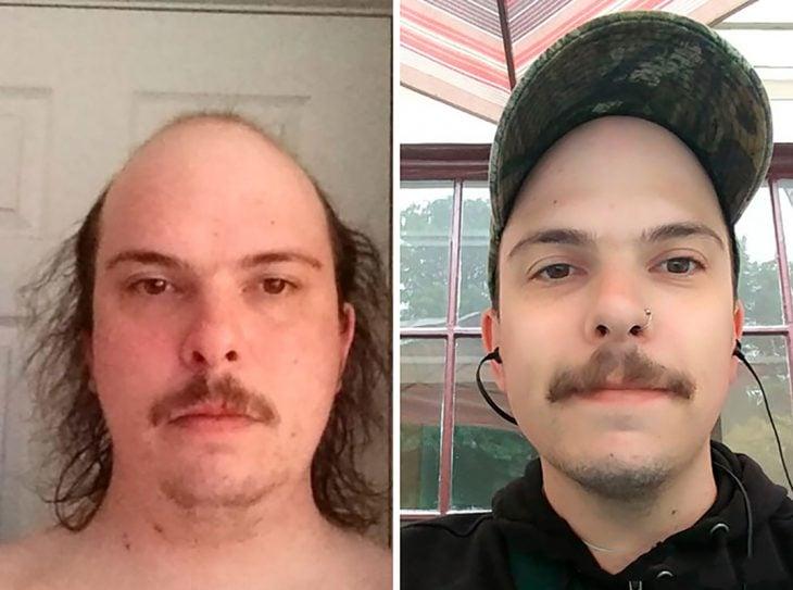 hombre sobrio se ve más joven
