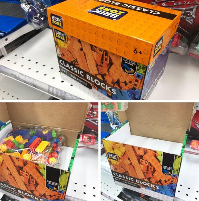 caja de legos casi vacía