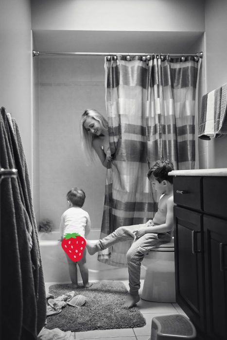 niños en la ducha