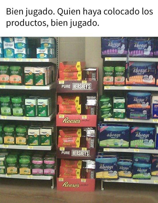 memem chocolates y toallas sanitarias