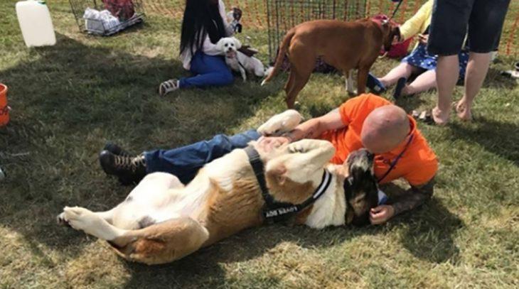 hombre haciéndole caricias a perro