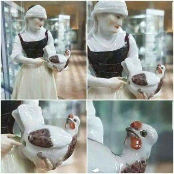 porcelana mujer y gallina