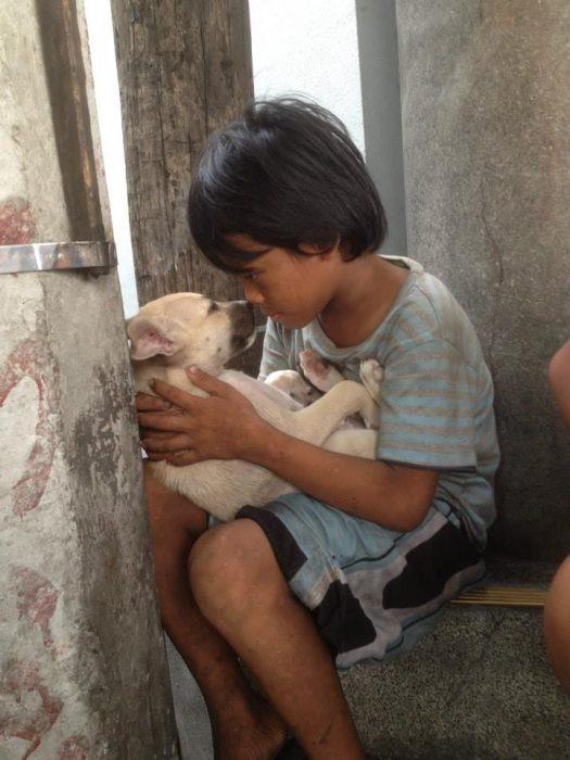 niño poniéndole atención a un perrito