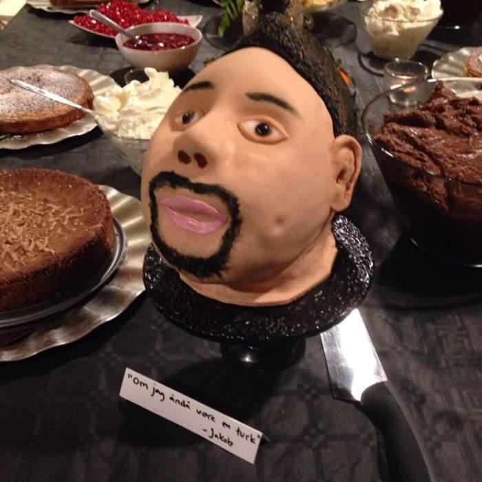 pastel de cabeza de hombre