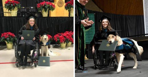Cover Perro que acompañó en todas sus clases a una joven se gradúa con honores