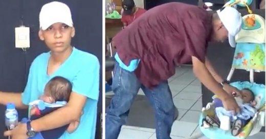 Cover Su novia lo abandonó, pero él no se rindió y lleva a su bebé al trabajo todos los días