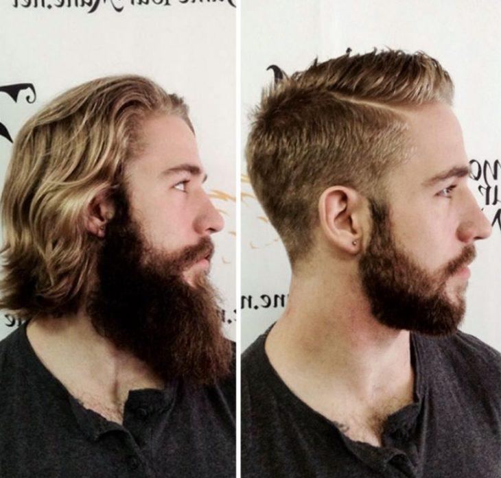 guapo con barba corta y larga