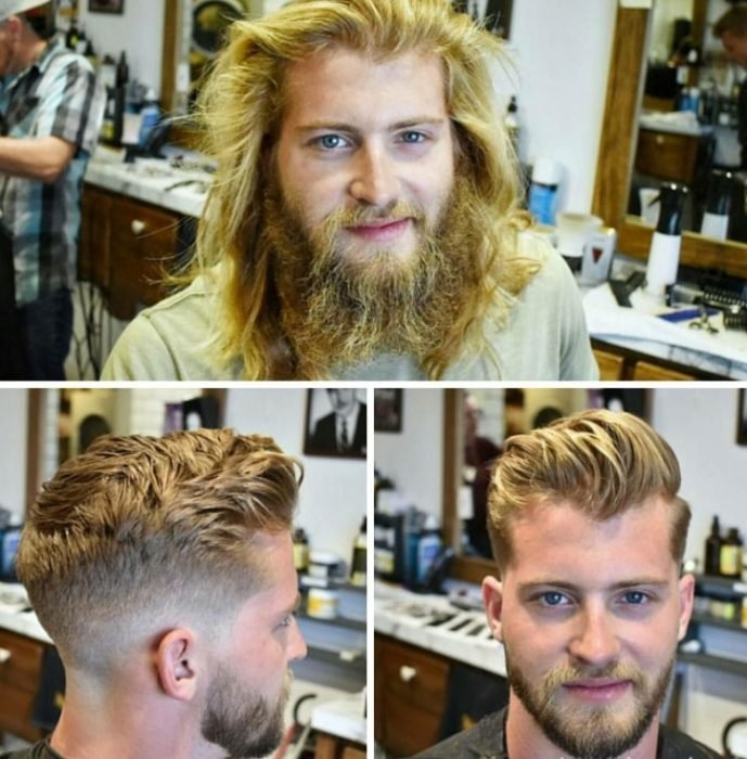 corte de cabello y barba rubio