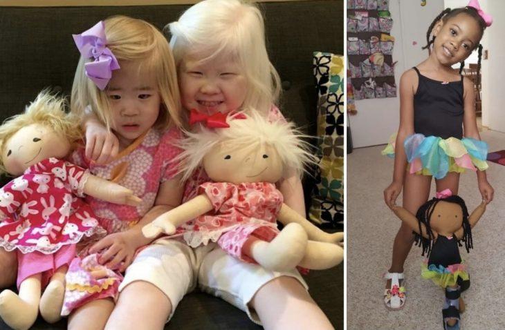 niñas albinas con juguetes albinas
