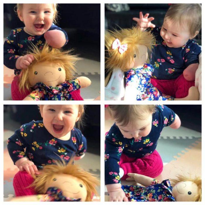 cuatro fotos de niño con muñeco