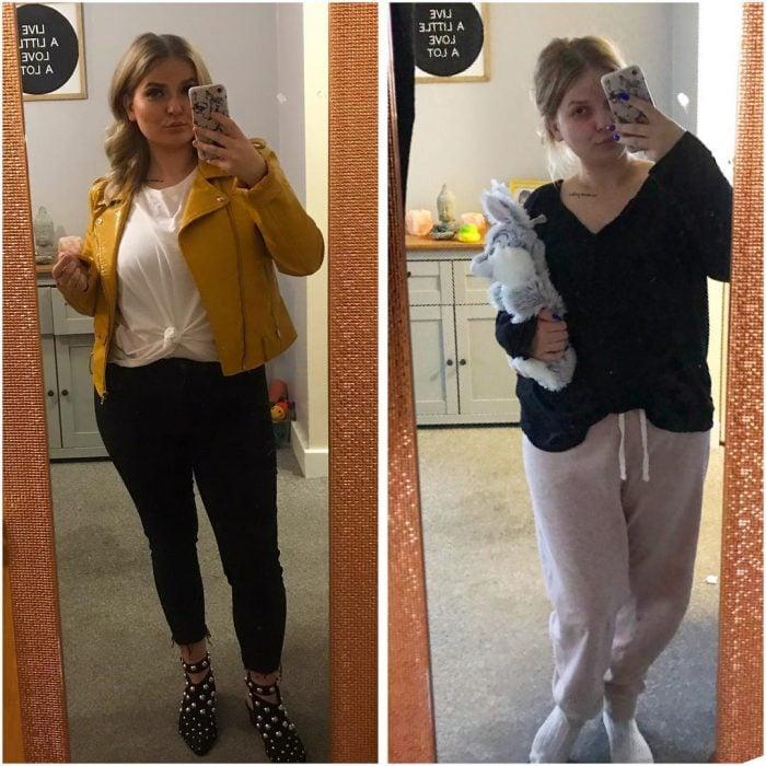 mujer cambiada vs con pijama