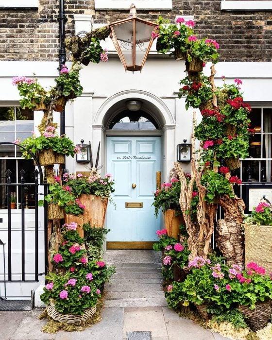 puerta con arco de vegetación