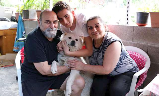 perrito se pone feliz de ver a su familia