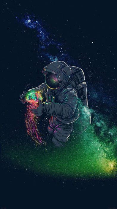 astronauta y medusa espacial