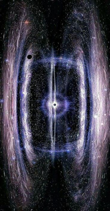 Dos galaxias atraídas por un agujero negro