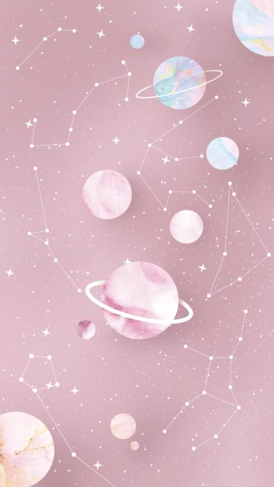 planetas y estrellas rosas