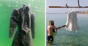 Dejó 2 años su vestido en el fondo del Mar Muerto, la naturaleza le regresó un vestido de Cristal