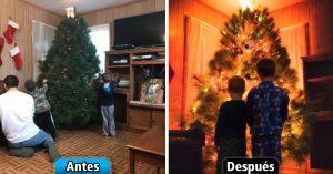 Papá fotógrafo convierte la decoración navideña en postales mágicas