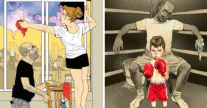 11 Satíricas ilustraciones que muestran la realidad en la vida cotidiana