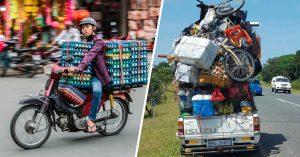 13 Personas que transportaron lo que sea en sus pequeños vehículos, ¡el Jenga les queda corto!