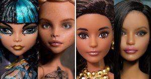 Artista decide eliminar el exagerado maquillaje de las muñecas y así es cómo lucen ahora...