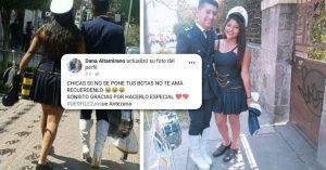 Joven se pone las botas de su novia para que ella descansara después de un desfile